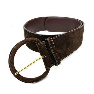 Ann Taylor LOFT Belt Wide Suede Brown Leather M